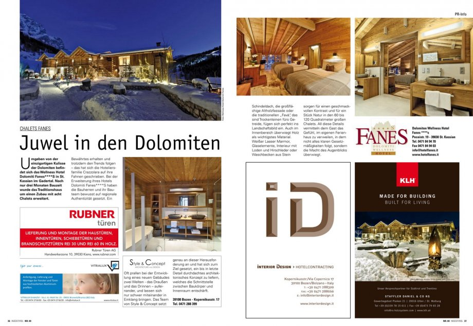 fanes chalets in s dtirol presse news interior design gmbh hotelcontracting. Black Bedroom Furniture Sets. Home Design Ideas