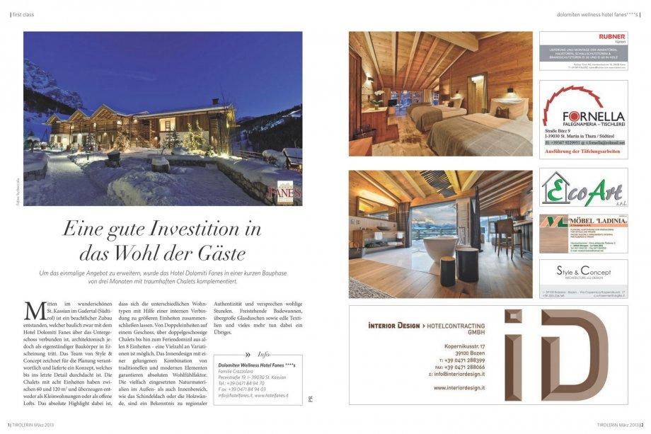 Fanes chalets tirolerin presse news interior for Interior design gmbh