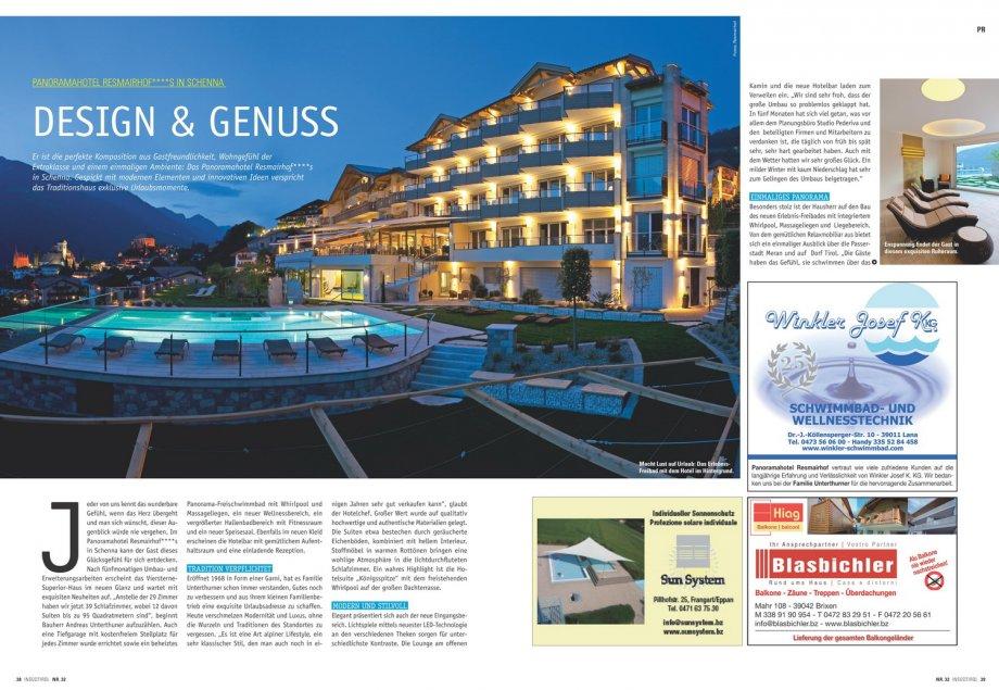 Hotel resmairhof in s dtirol presse news interior for Design hotel dolomiten